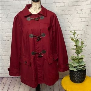 Charter Club trench coat with toggles maroon